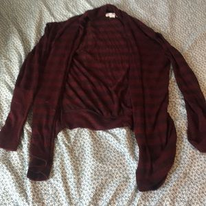 Maroon and Red Striped Cardigan